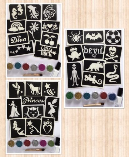GLITTER TATTOO PARTY KIT 10 stencils-6 glitters GIRLS/BOYS/FAIRY THEME-50 tats